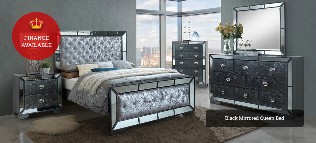 Black Mirrored Queen Bed