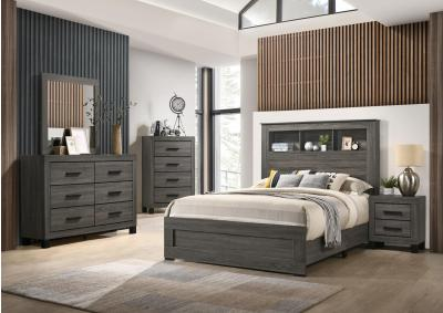Image for 8321Gray 7 Pc Queen bookcase Bedroom