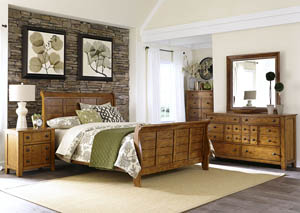 Image for Grandpas Cabin Queen Sleigh Bed w/Dresser, Mirror, and Chest, and Nightstand