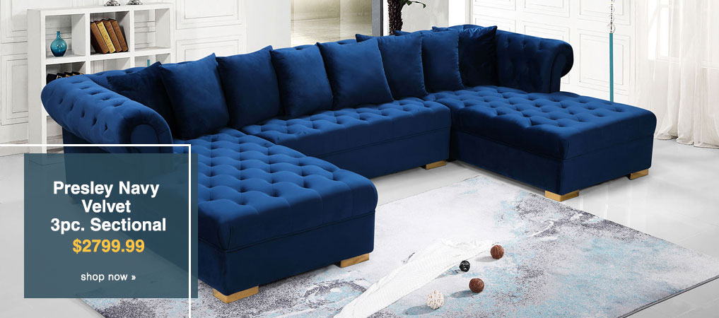 Presley Navy Velvet 3pc. Sectional