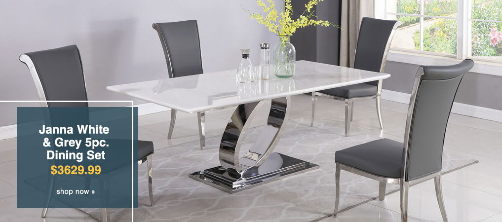 Janna White & Grey Rectangular Marble Top 5 Piece Dining Set W/ 4 Joy Side Chairs