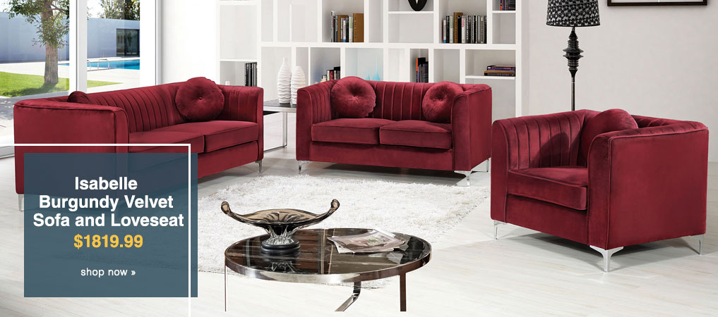Isabelle Burgundy Velvet Sofa and Loveseat