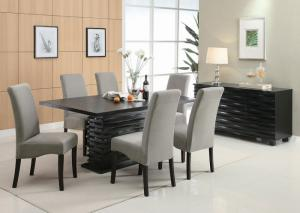 Image for Stanton Black Dining Table w/4 Grey Chairs