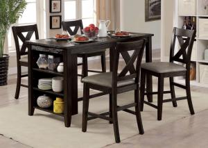 Image for Lana Dark Walnut Counter Height Table w/4 Chairs
