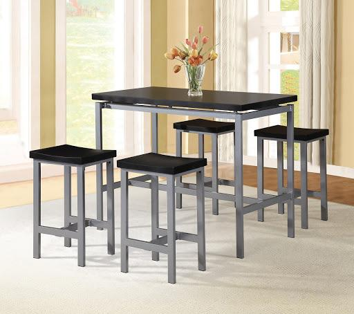 5pc Backless Stool with Rectangular Counter Table Black