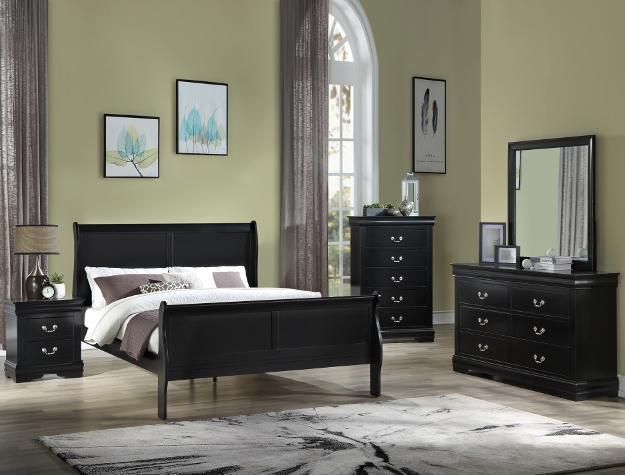 Black Sleigh Bed Set with Dresser, Mirror, and Nightstand