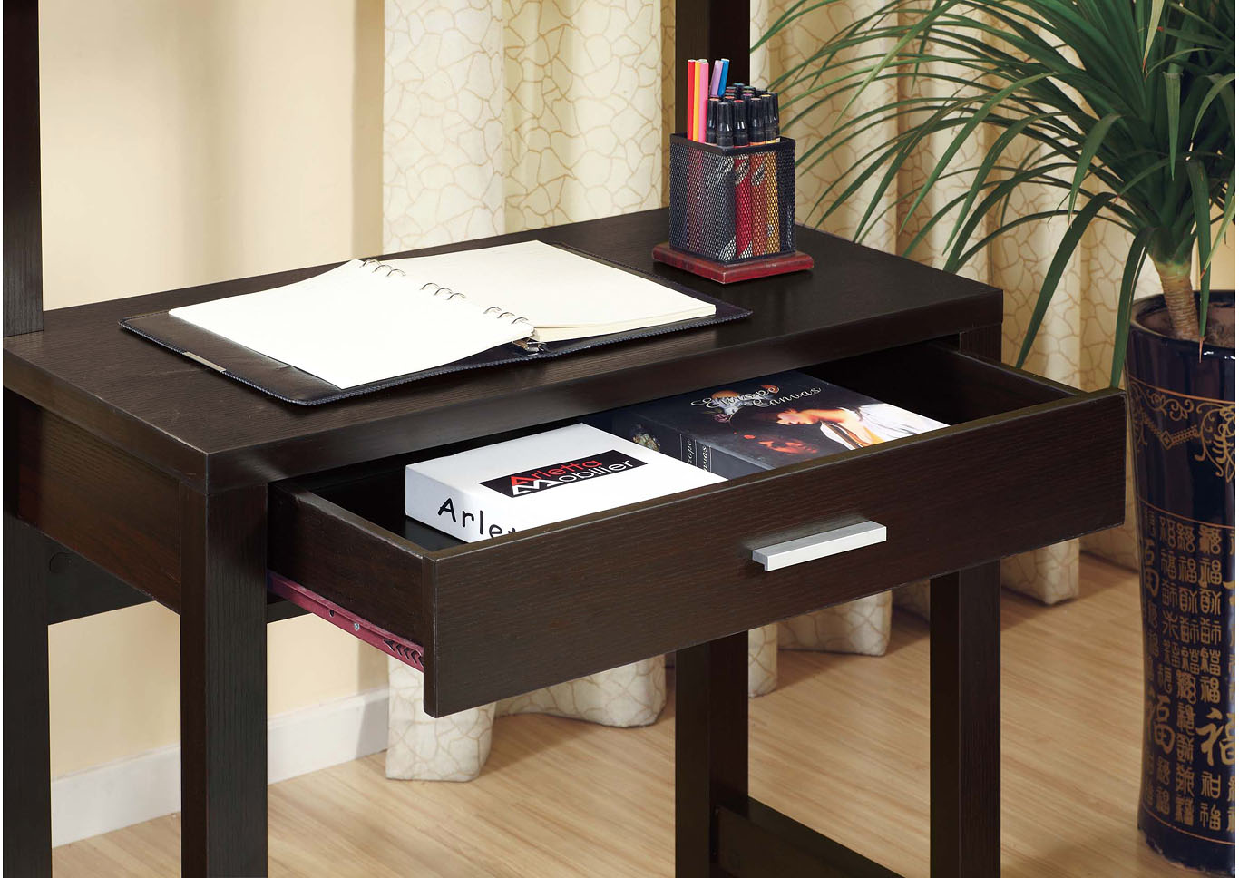Red Cocoa Desk with Shelves,Instore