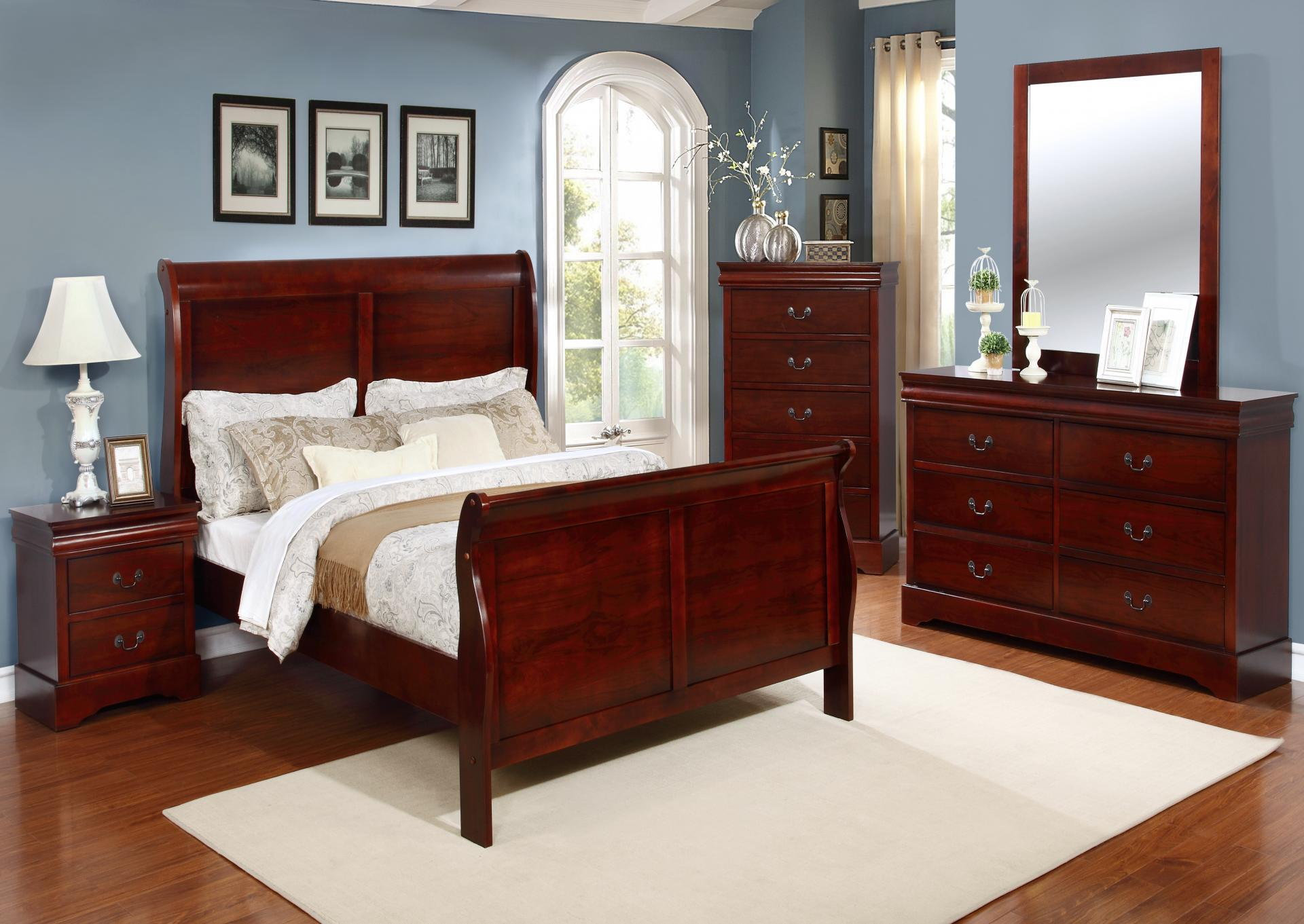 Cherry Sleigh Bed Set with Dresser, Mirror, and Nightstand