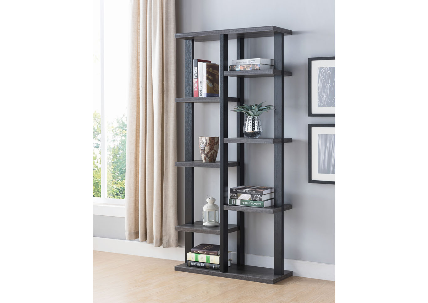 Grey and Black Bookcase - Room Divider,Instore