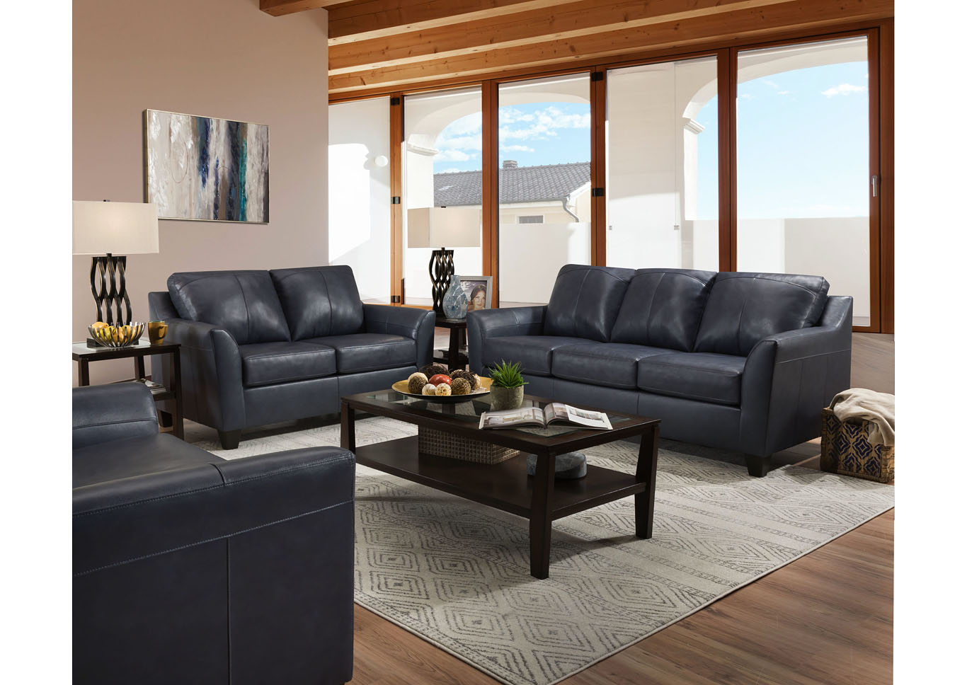 Lane Furniture  Grant Top Grain Leather / Mate Sofa and Love Seat Shale,Instore