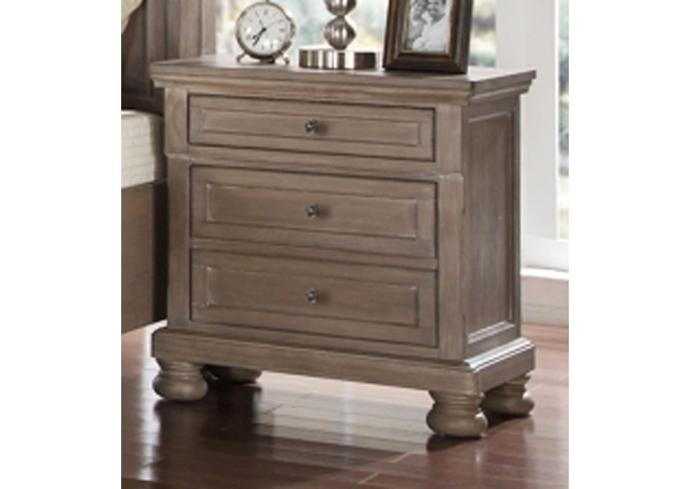 Allison Nightstand with USB Port and Hidden Storage,Instore