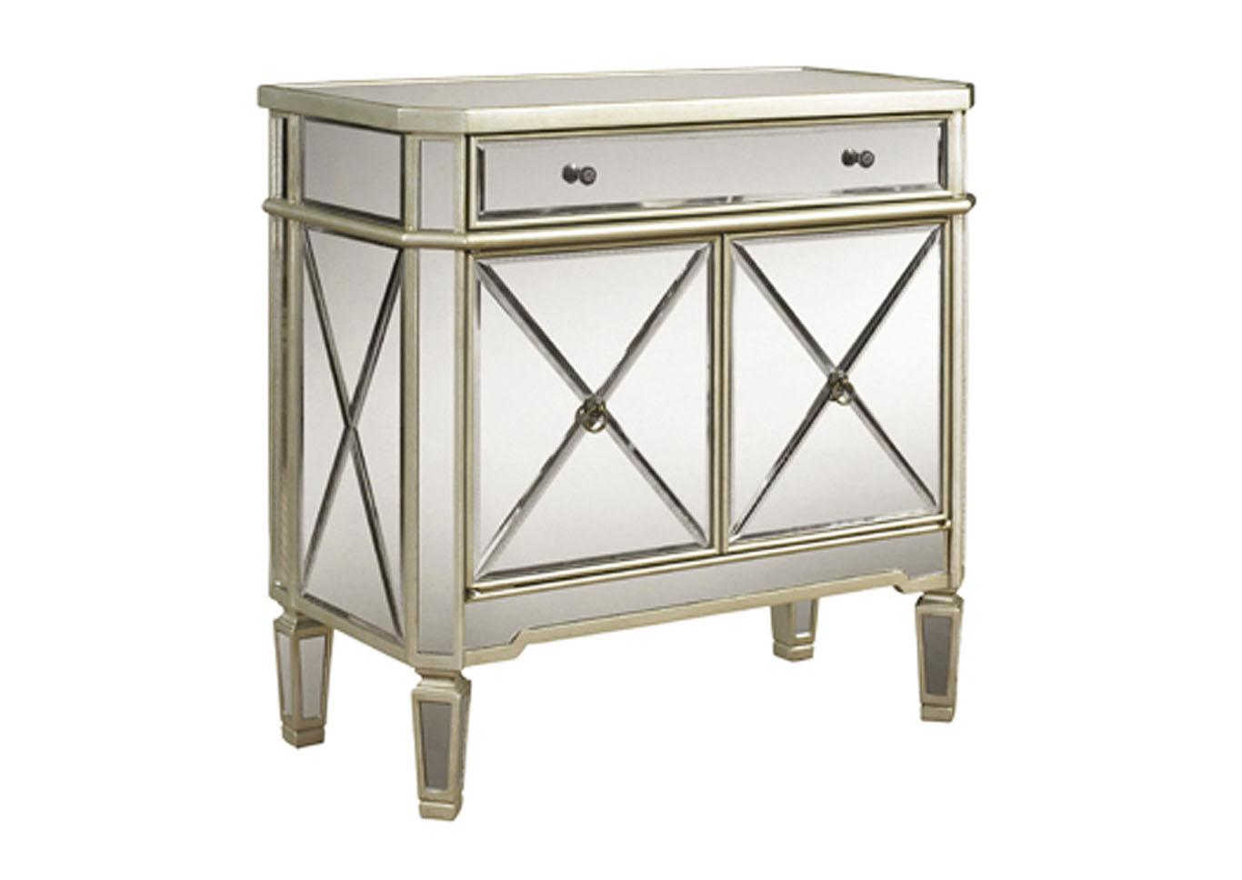 Mirrored 1-Drawer, 2-Door Console,Instore