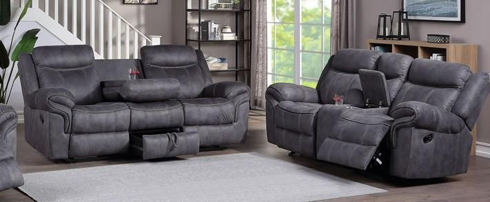 Pierce Dual Reclining Sofa with drop down tray and pull out drawer and Dual Reclining Loveseat with Console
