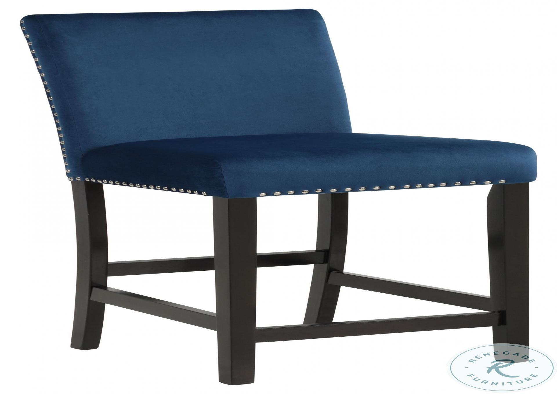 Cecilia Blue Counter Height Stool with Brown Wood Base