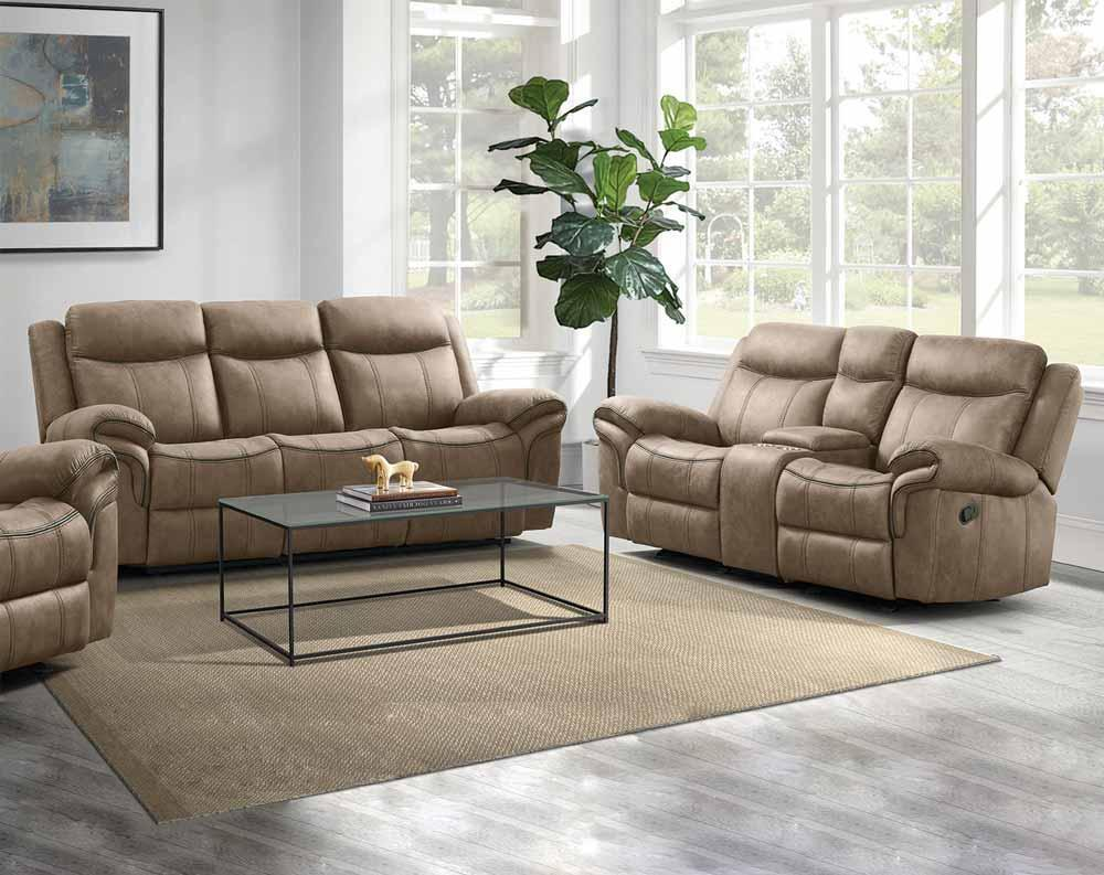 Brown Pierce Dual reclining sofa with drop down tray and storage drawer and Dual reclining loveseat with storage console