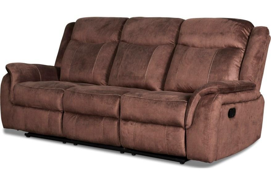 Chocolate Reclining Sofa with Push Button Power Cavett