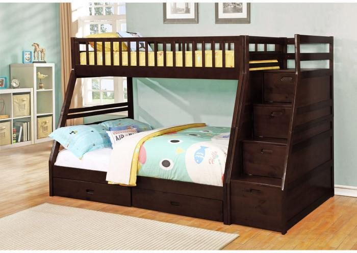 Dakota Twin/Full Angled Bunk Bed with Storage Staircase and Under Drawers - Espresso,Instore