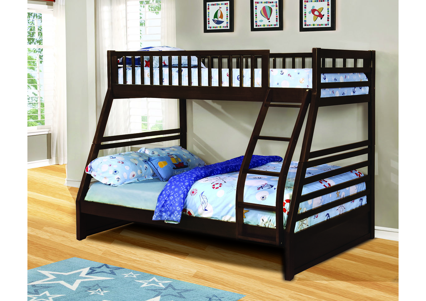 North Dakota Espresso Twin/Full Angled Bunk Bed,Instore