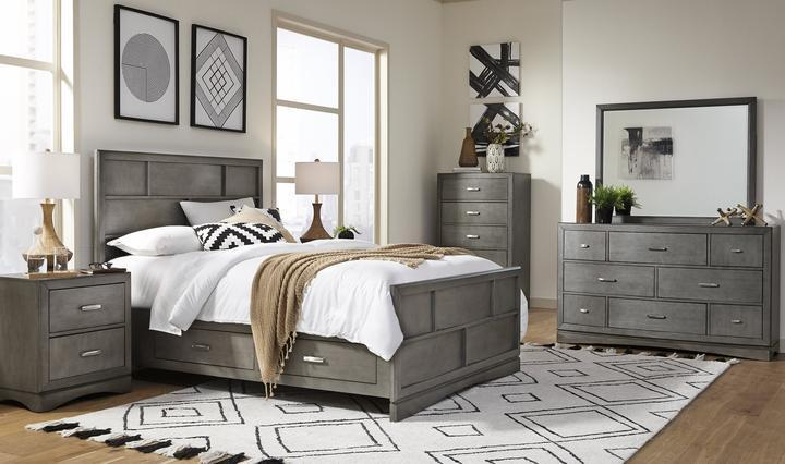 Toro Gray Bedroom Group with Dresser Mirror and Nighstand.  STorage in Side rails