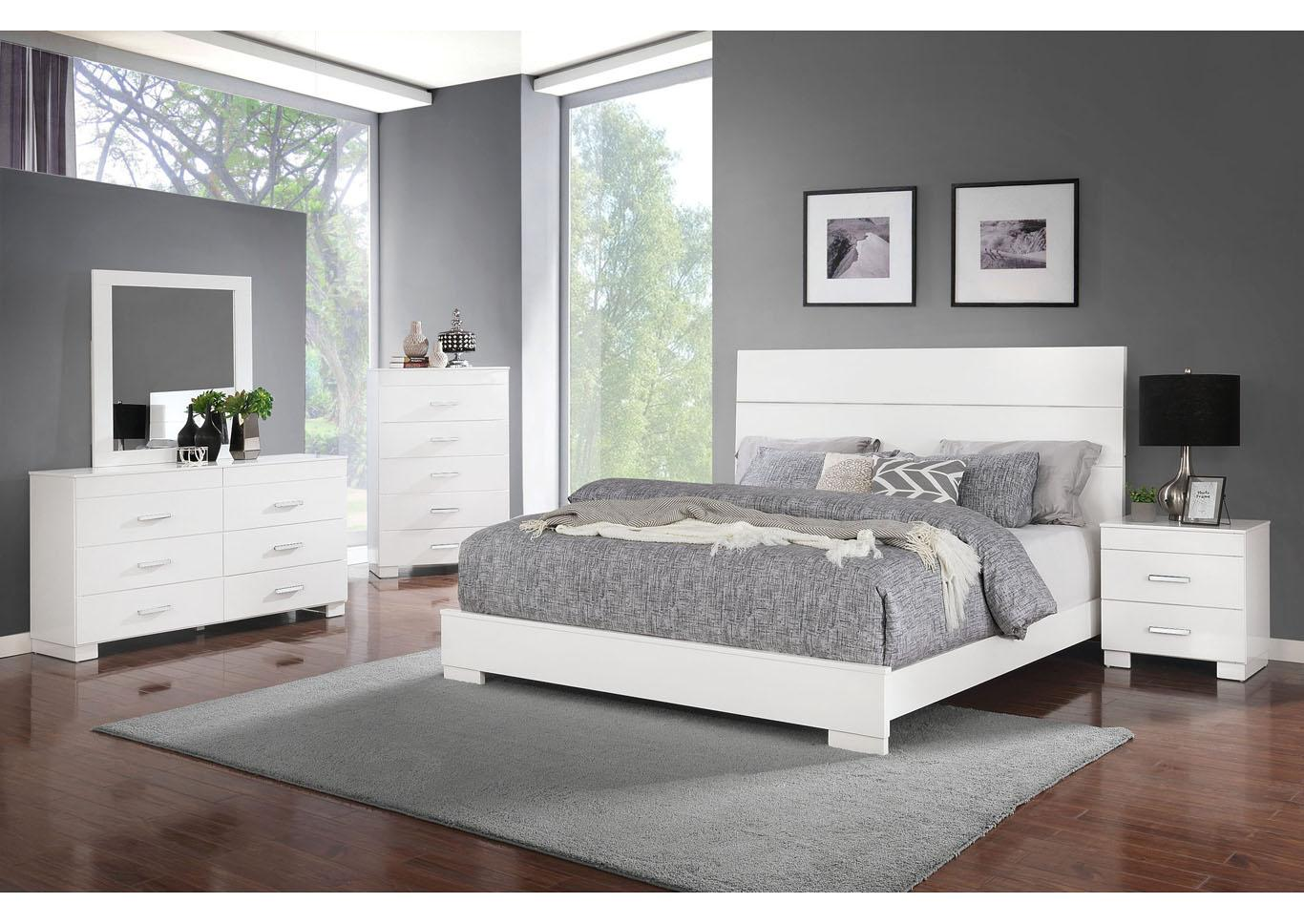 Adler White 4pc Bedroom Set - Twin,Instore