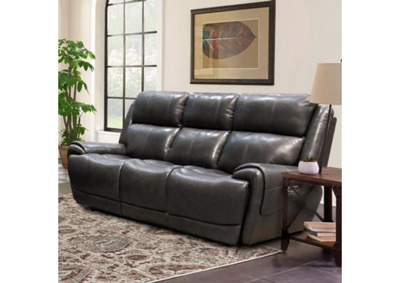 Spencer Top Grain Leather Power Dual Reclining Sofa with Power Headrest and USB Charging - Gray,Instore