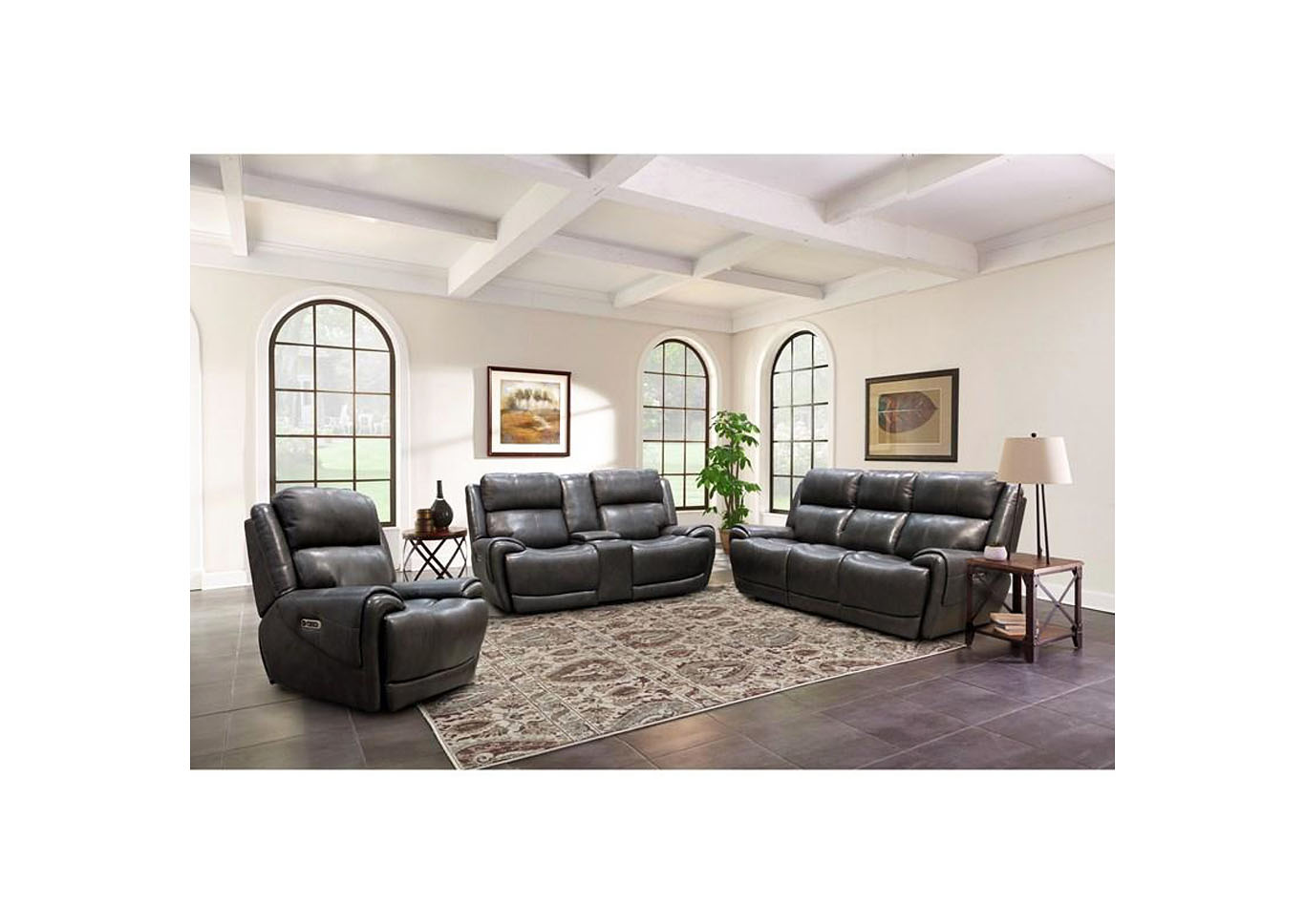 "Spencer Top Grain Leather Power Dual Reclining Love Seat with Power Headrest and USB Charging  "" Gray,Instore"