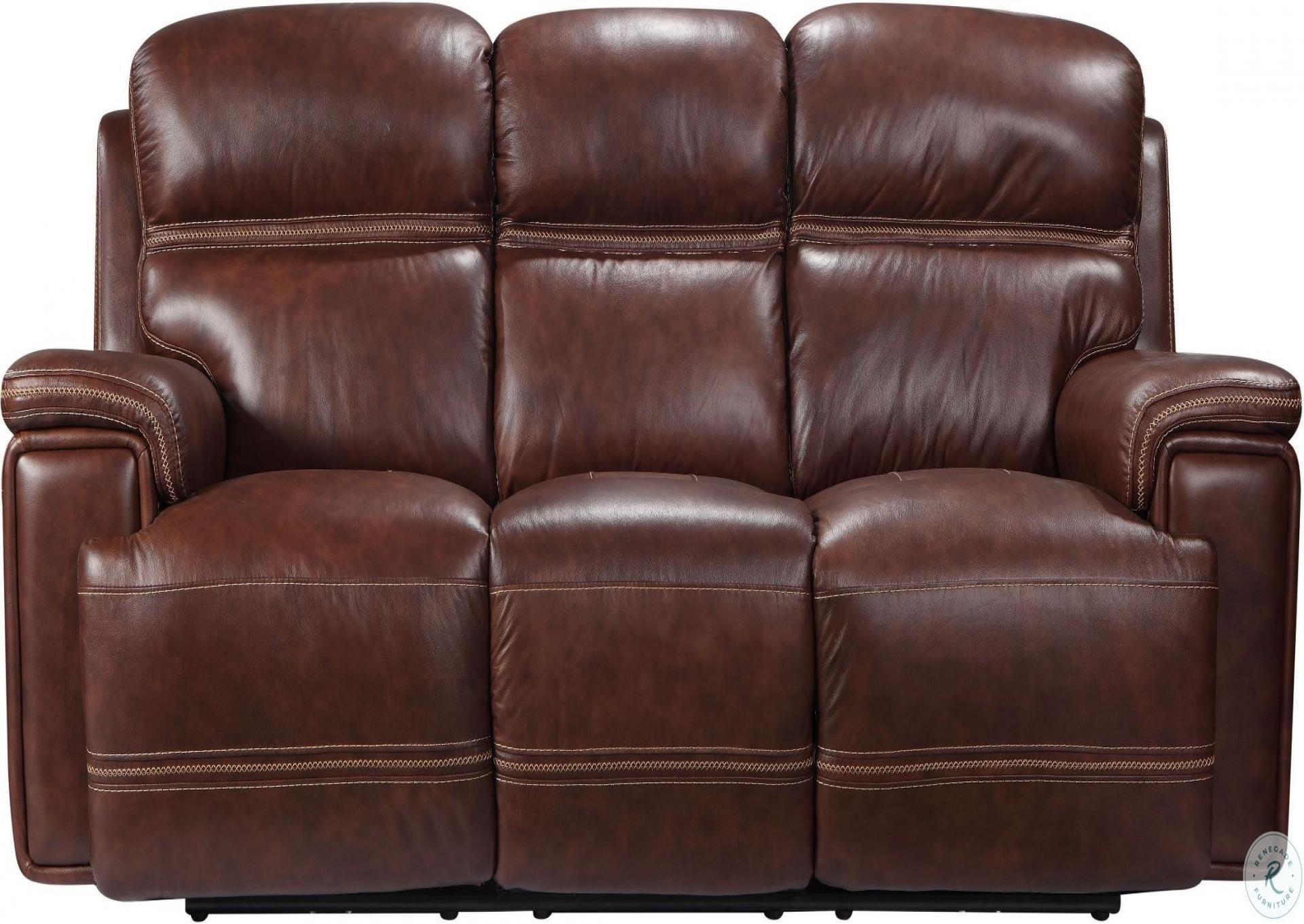 Brown Leather Power Headrest with Power Footrest Dual  Reclining Sofa