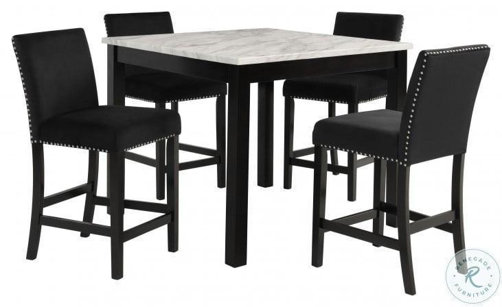 Faux white Marble 5pc Counter dining with 4 black chairs