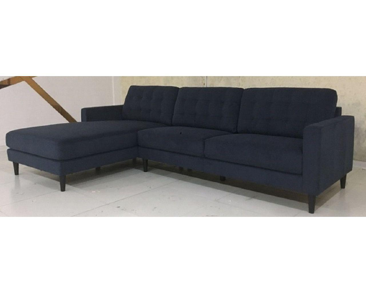 Black Fabric Sofa Chaise with chaise on the Left Side when facing it