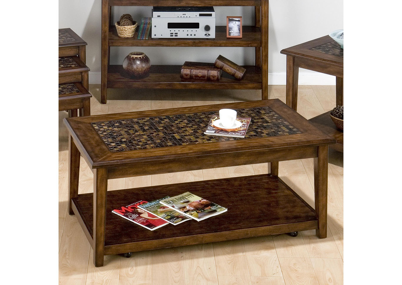 Mosaic Cocktail Table with Casters,Instore