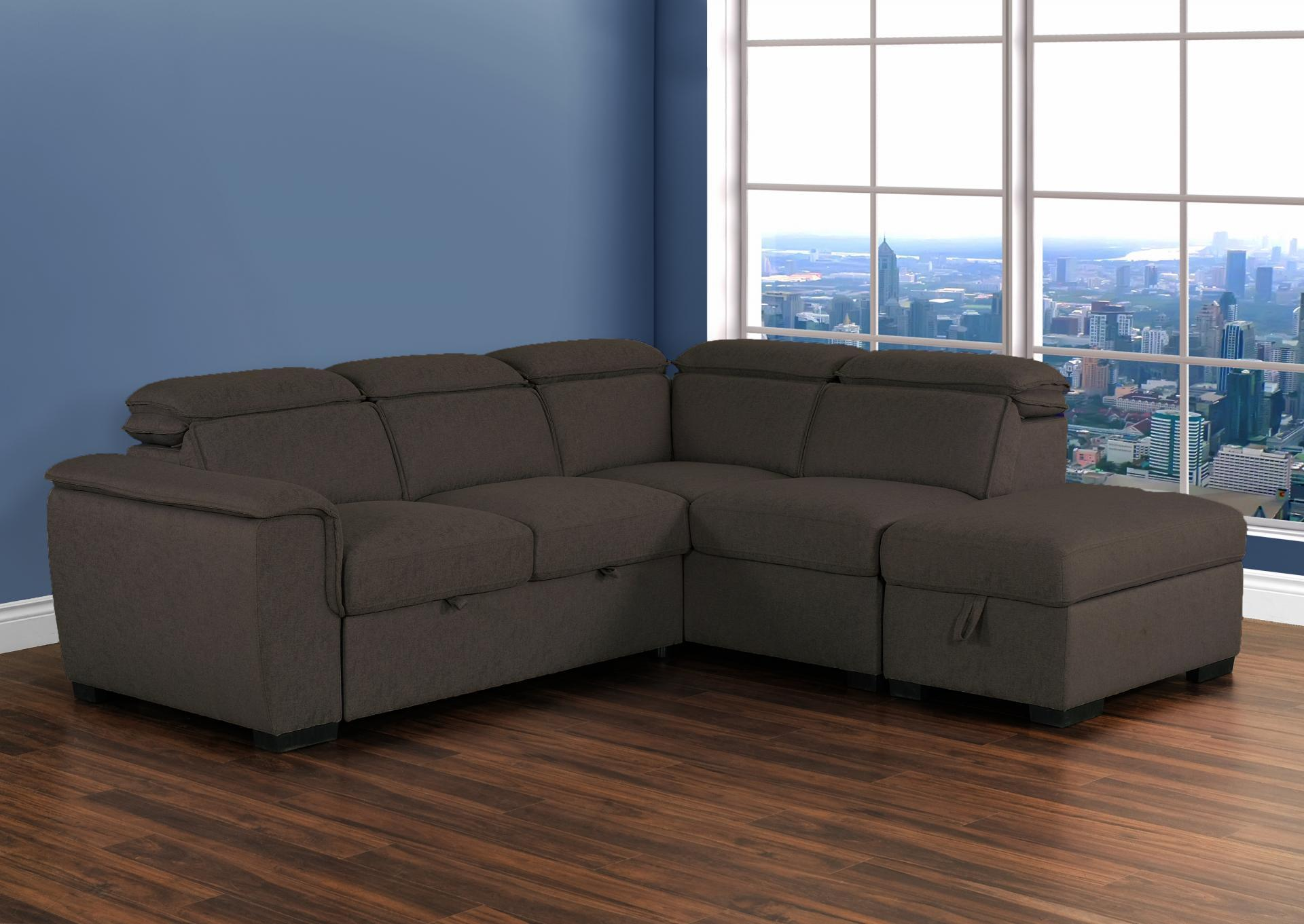 Gerardo Brown Linen Klick Soffa Sectional with pull out pop up ottoman and storage ottoman