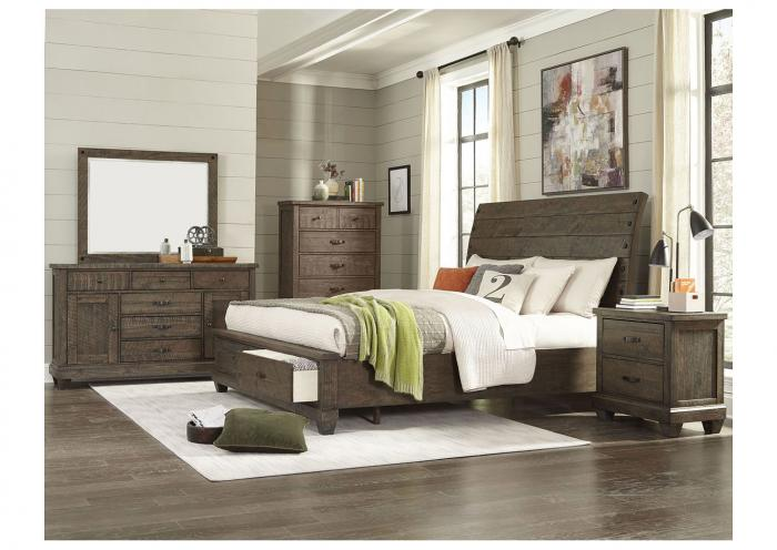 Rock Brown Platform Storage Bed Queen,Instore