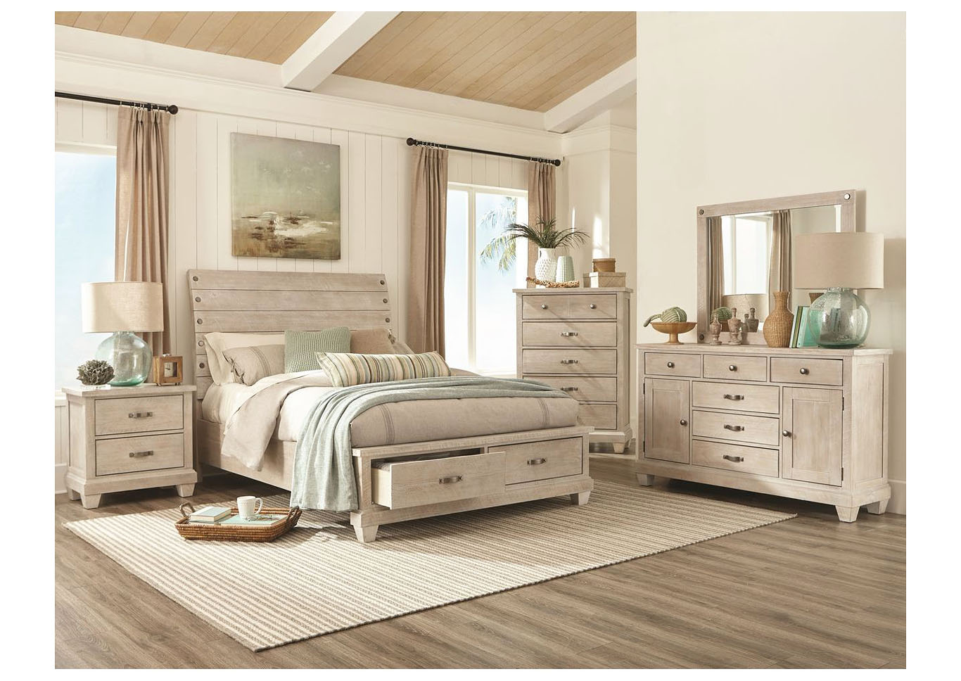 Rock White Wash Platform Storage Bedroom Set - Queen,Instore