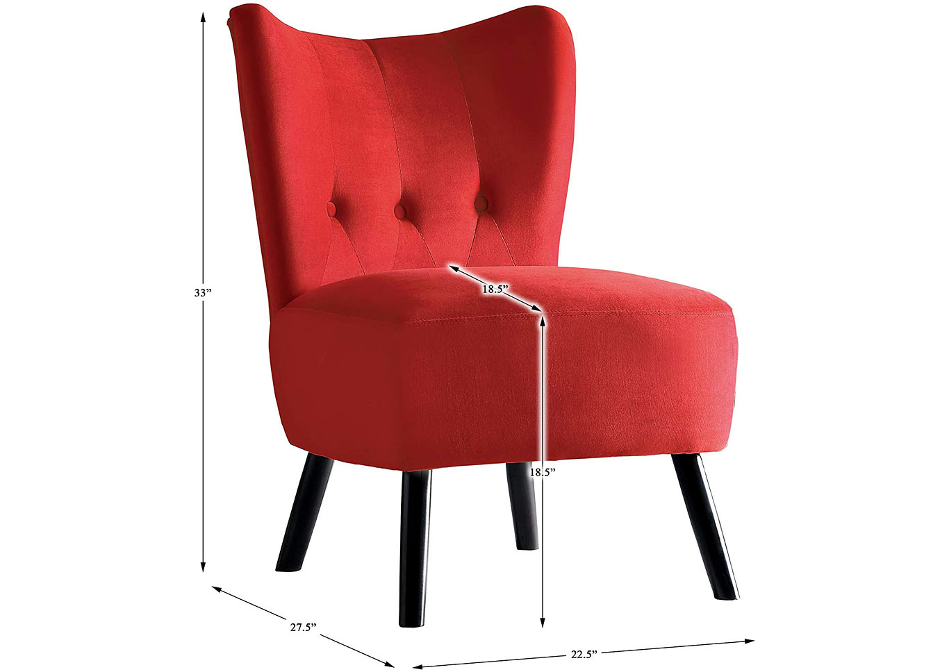 Jackie Velvet Accent Chair - Red,Instore