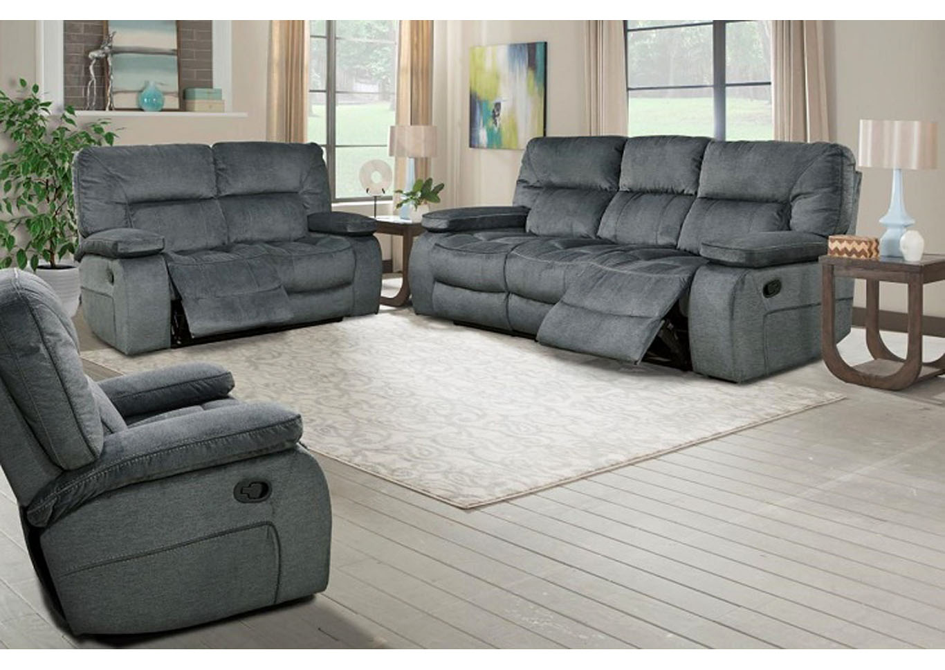 Chapman Triple Reclining Sofa Polo Blue,Instore