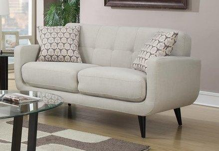 Hadley Taupe Contemporary Love Seat with Brown Wood Legs