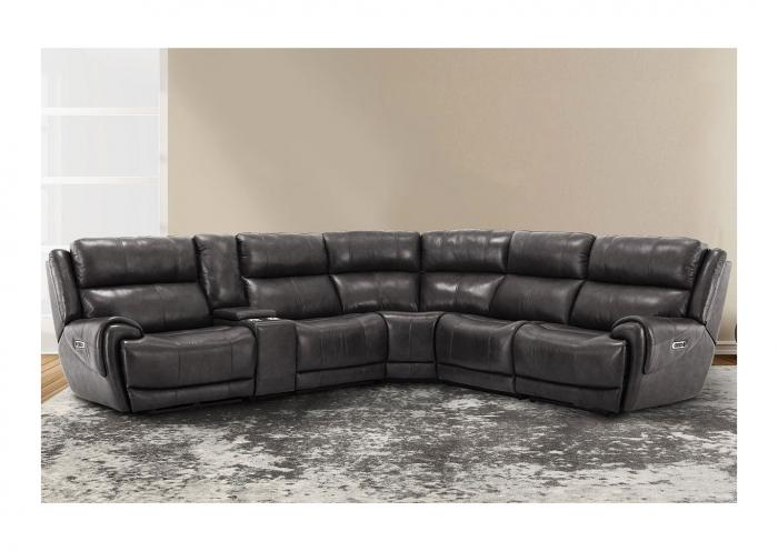 Spencer 6pc Top Grain Leather Power Modular Sectional with Power Headrest, 3 Power Recliners and USB Charging Gray,Instore