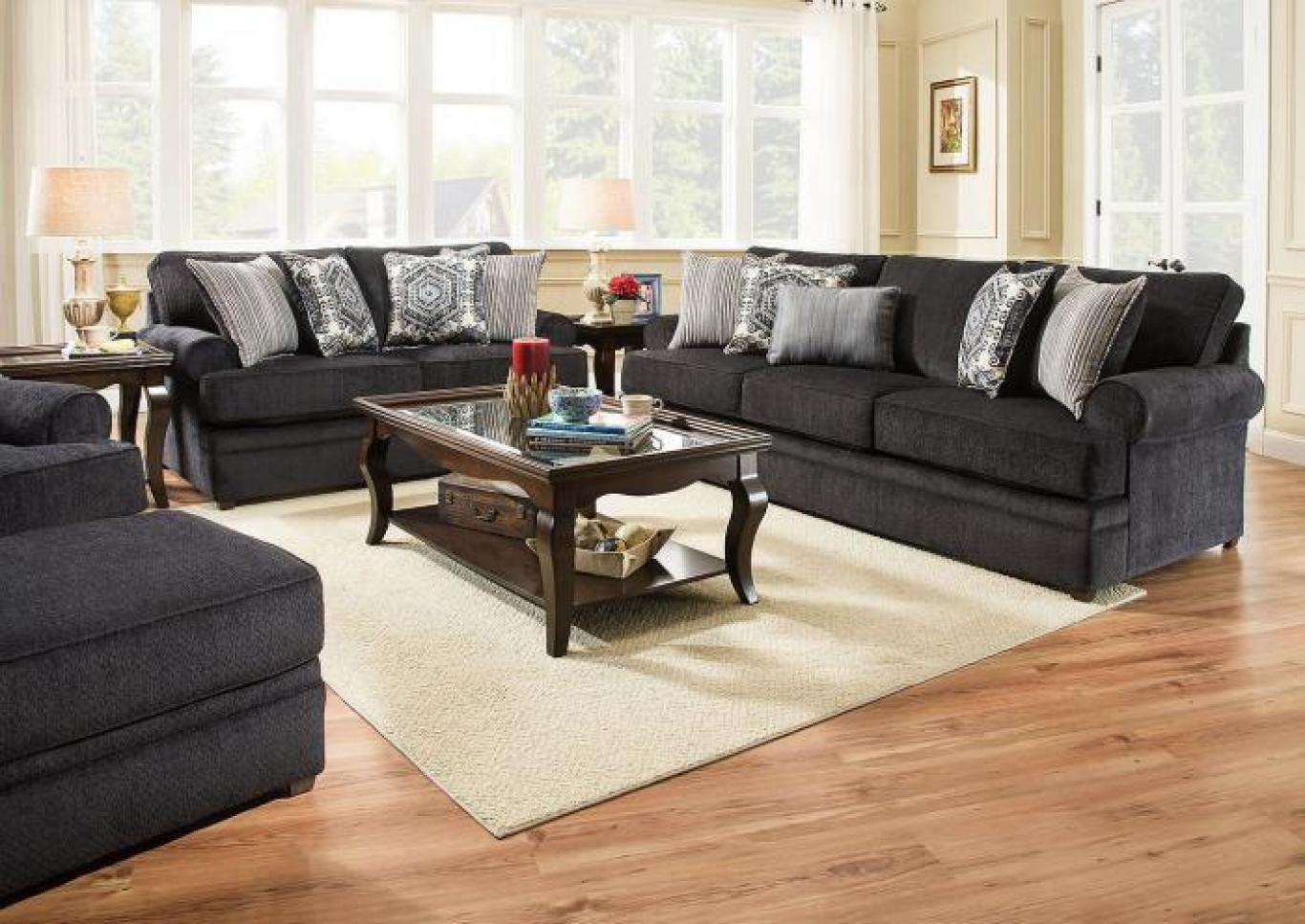 Simmons Roosevelt Stationary Sofa and Love Seat - Slate,Instore