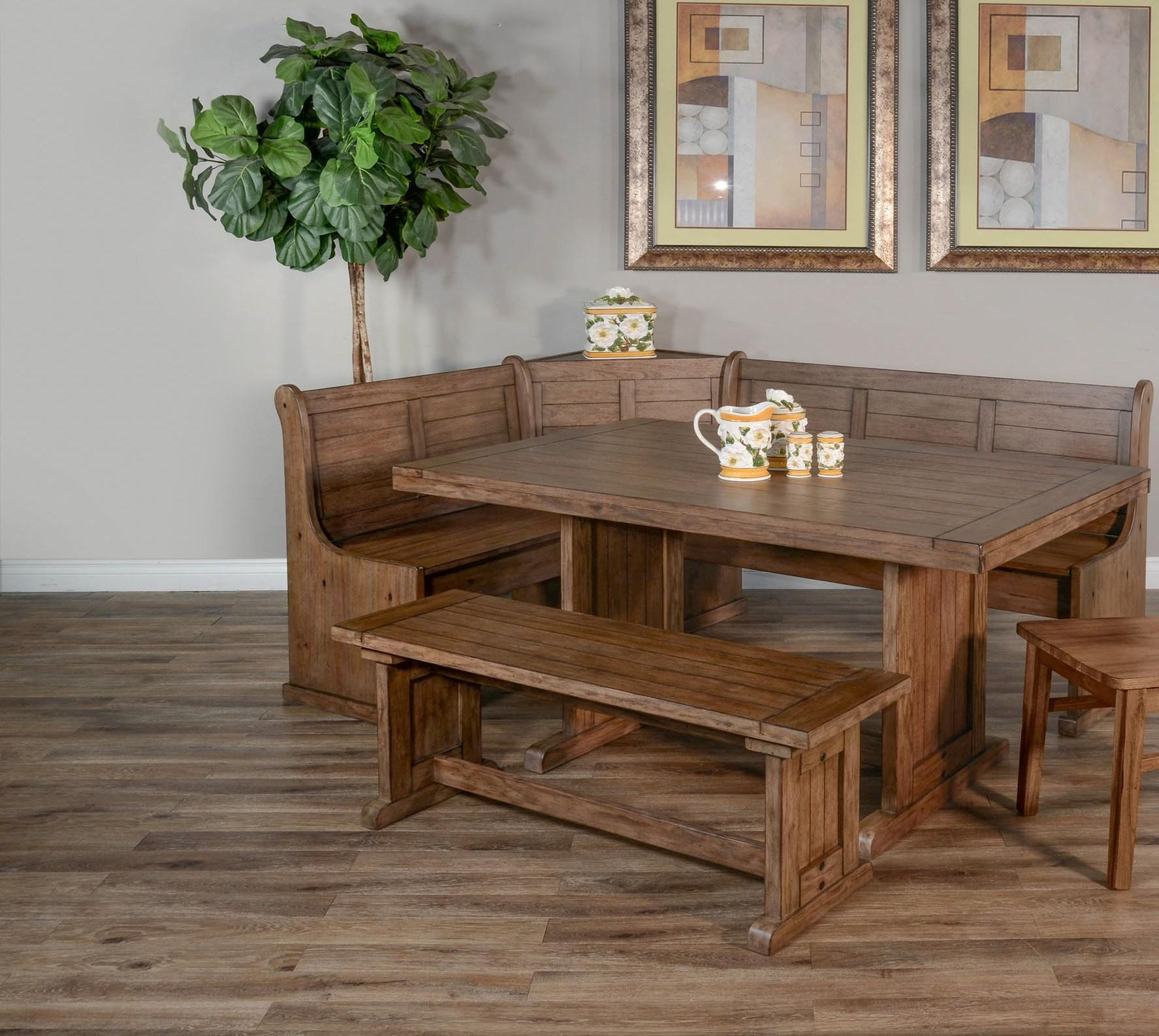 Reversible Breakfast Nook with Storage Benches Buckskin