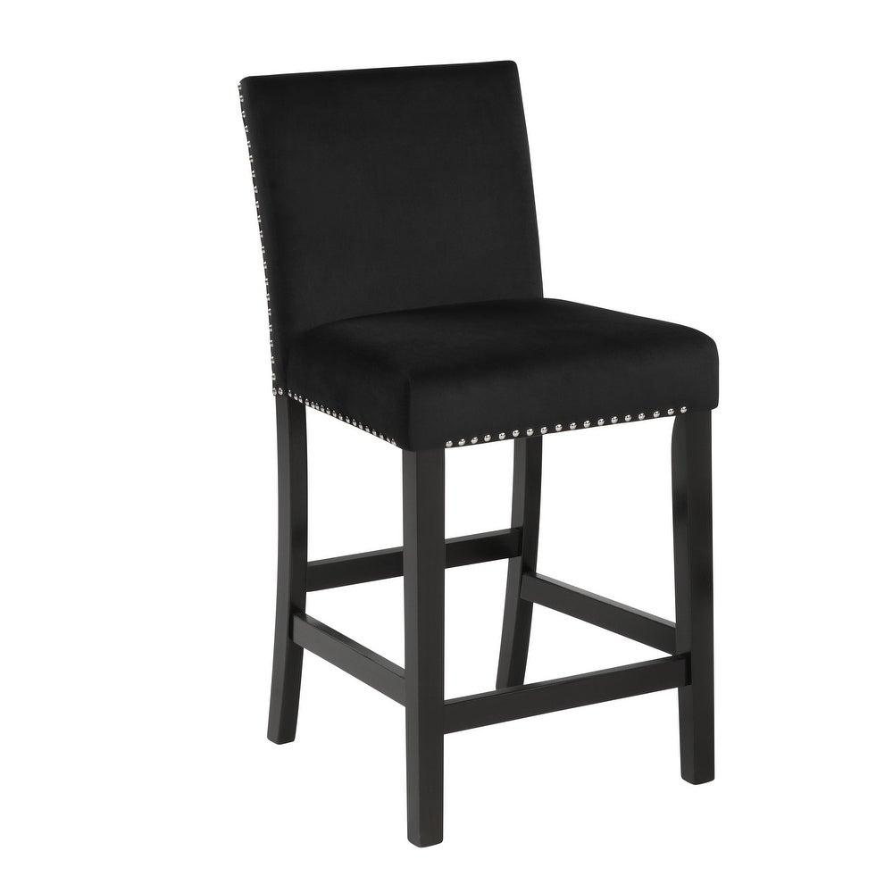 Cecilia Black Barstool with Brown Wood Base