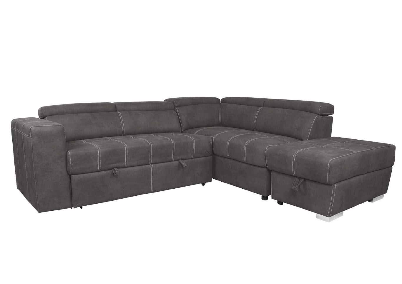 Abby Media Sectional with Pull Out Pop Up Ottoman and Moveable Storage Ottoman,Instore