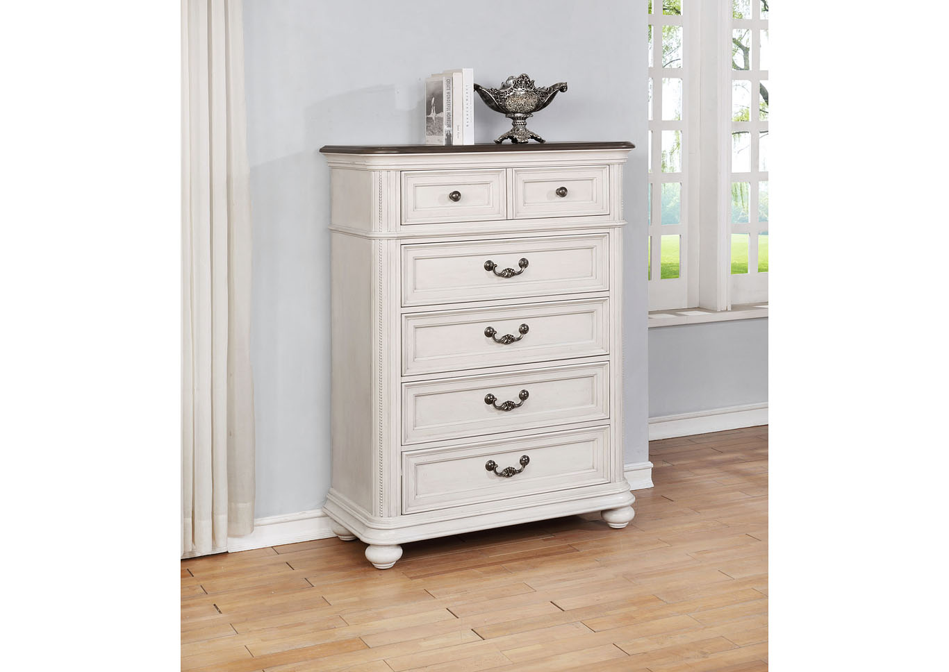 Lanett 5 Drawer Cottage White Chest,Instore