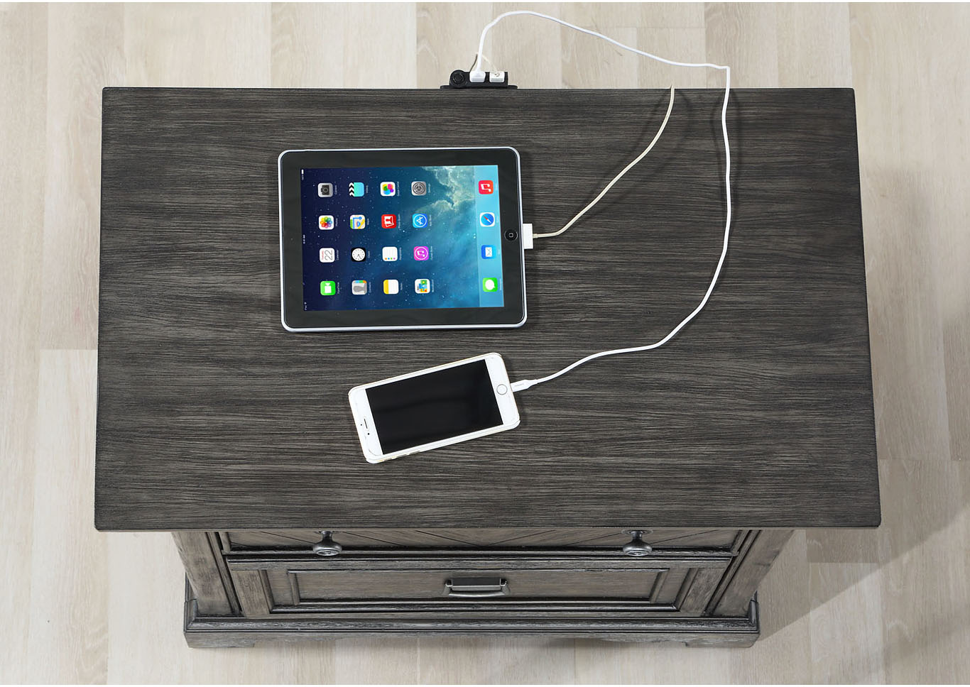 Santa Fe 3 Drawer Nightstand with Night Light and USB Charging Station,Instore