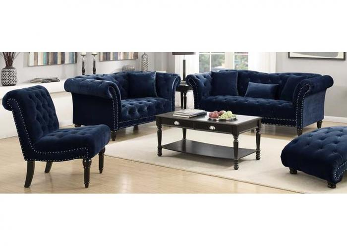 Twain Armless Accent Chair Broadway Navy,Instore