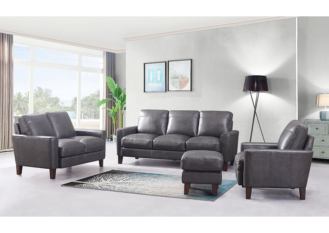 Chino Top Grain Leather Sofa and Love Seat - Gray,Instore