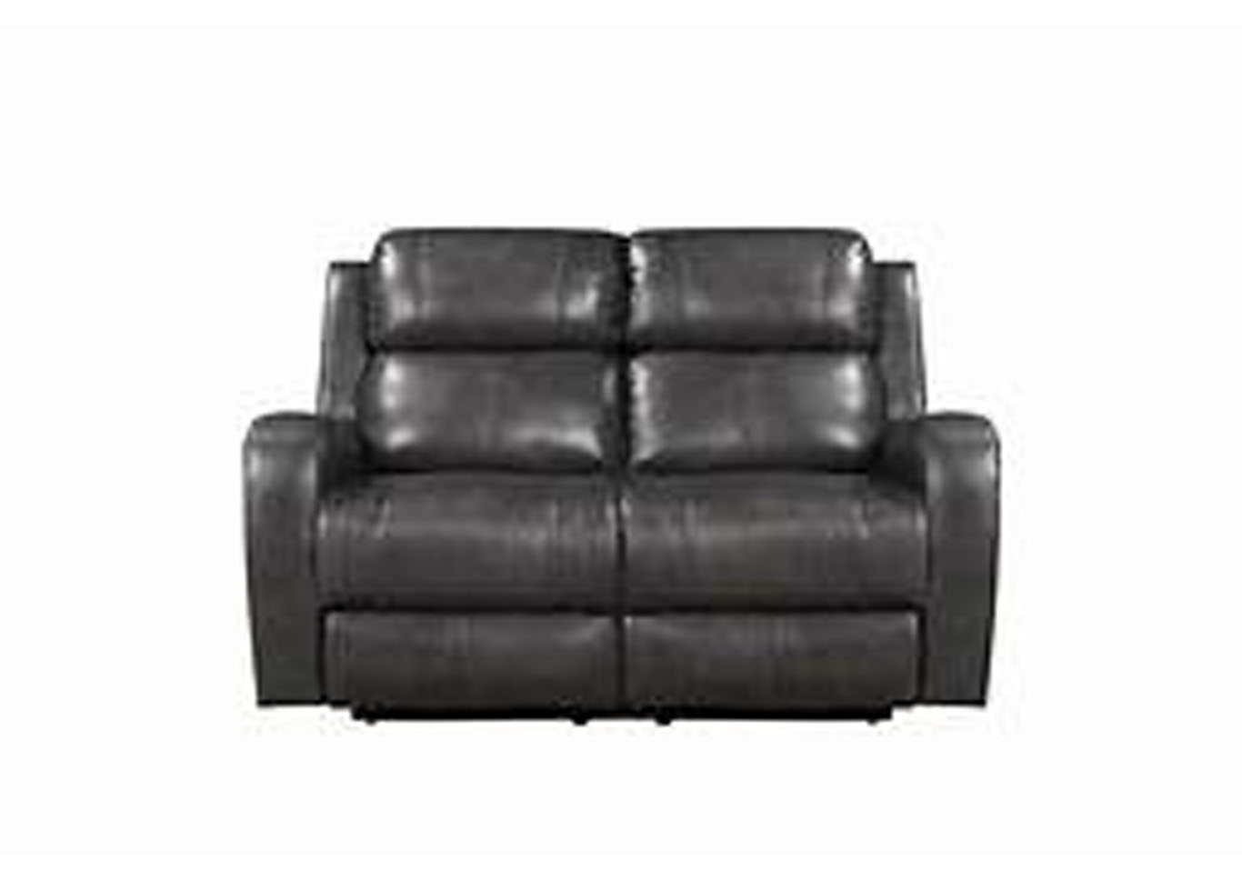 Cortana Top Grain Leather Power Dual Reclining Love Seat Gray,Instore