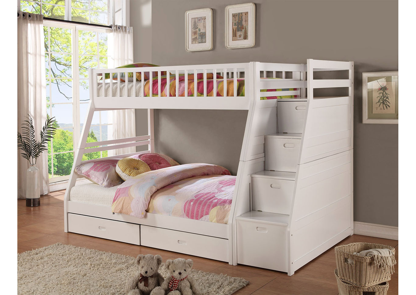 Picture of: Dakota Twin Full Angled Bunk Bed With Storage Staircase And Under Drawers White Nader S Furniture