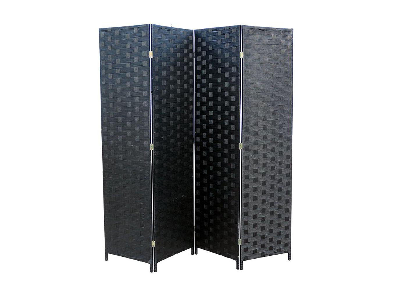 Oregon Black Wicker 4 Panel Room Divider,Instore