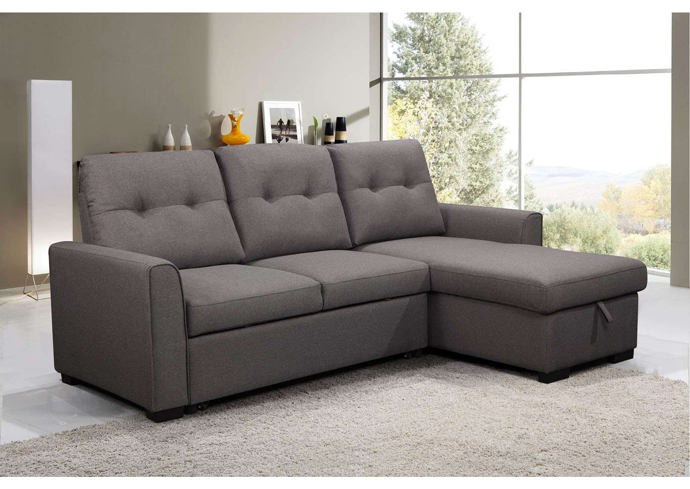 Florenzo Media Sofa Chaise with Storage and Pull Out / Pop Up Ottoman,Instore