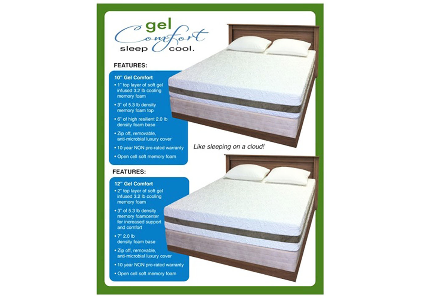 Pure Gel 8 Inch Memory Foam Mattress - Twin XL,Instore